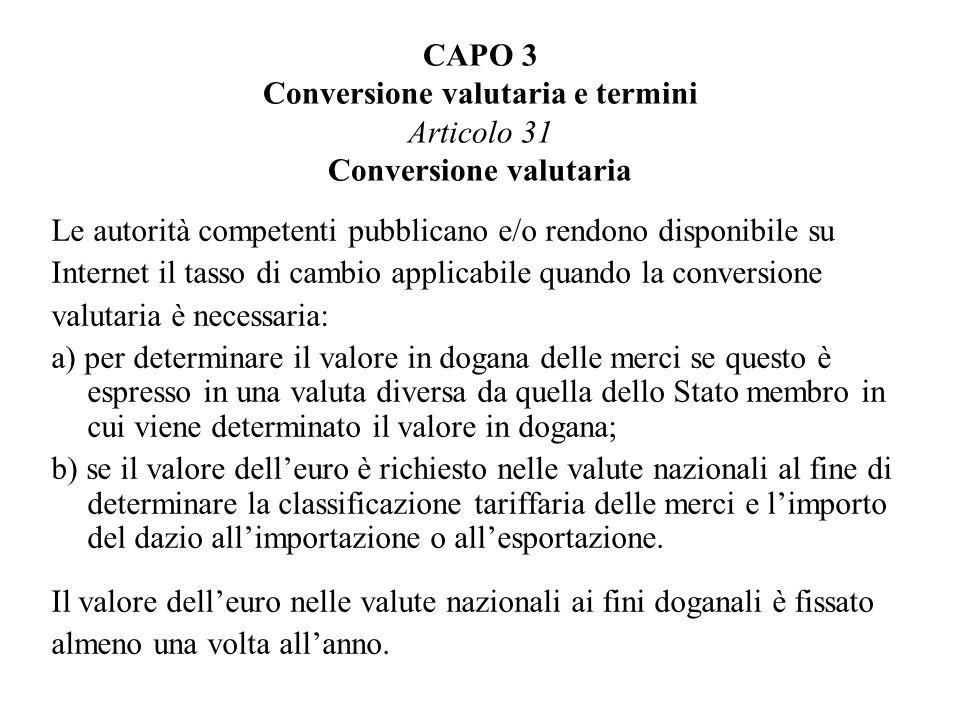 CAPO 3 Conversione valutaria e termini Articolo 31 Conversione valutaria
