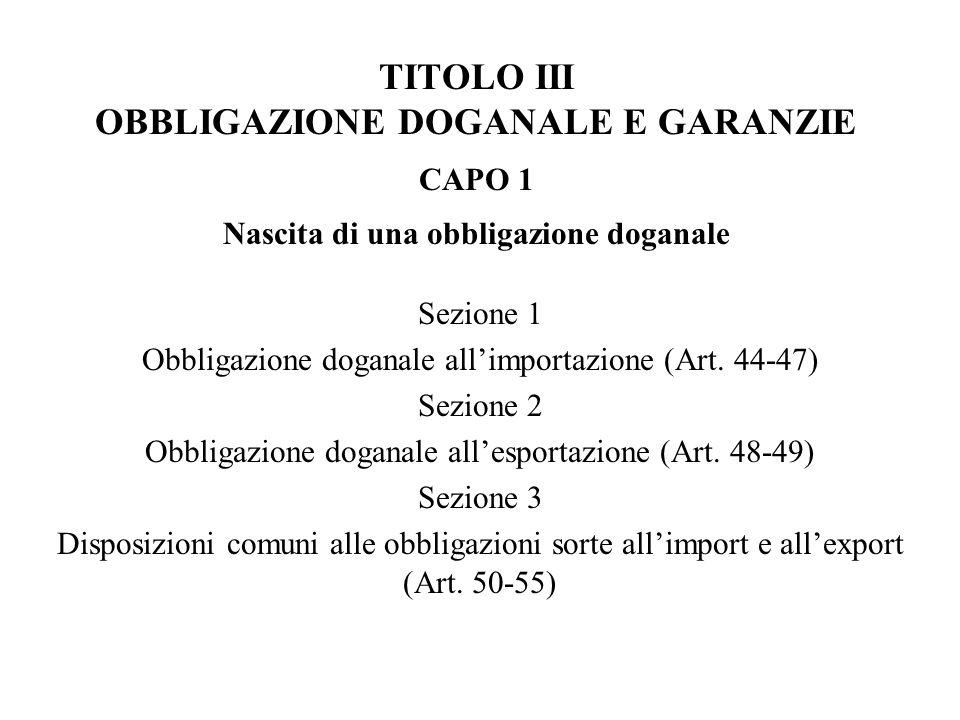 TITOLO III OBBLIGAZIONE DOGANALE E GARANZIE CAPO 1 Nascita di una obbligazione doganale
