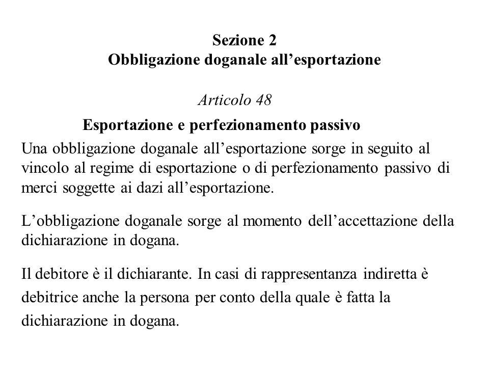 Sezione 2 Obbligazione doganale all'esportazione