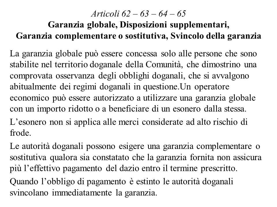 Articoli 62 – 63 – 64 – 65 Garanzia globale, Disposizioni supplementari, Garanzia complementare o sostitutiva, Svincolo della garanzia