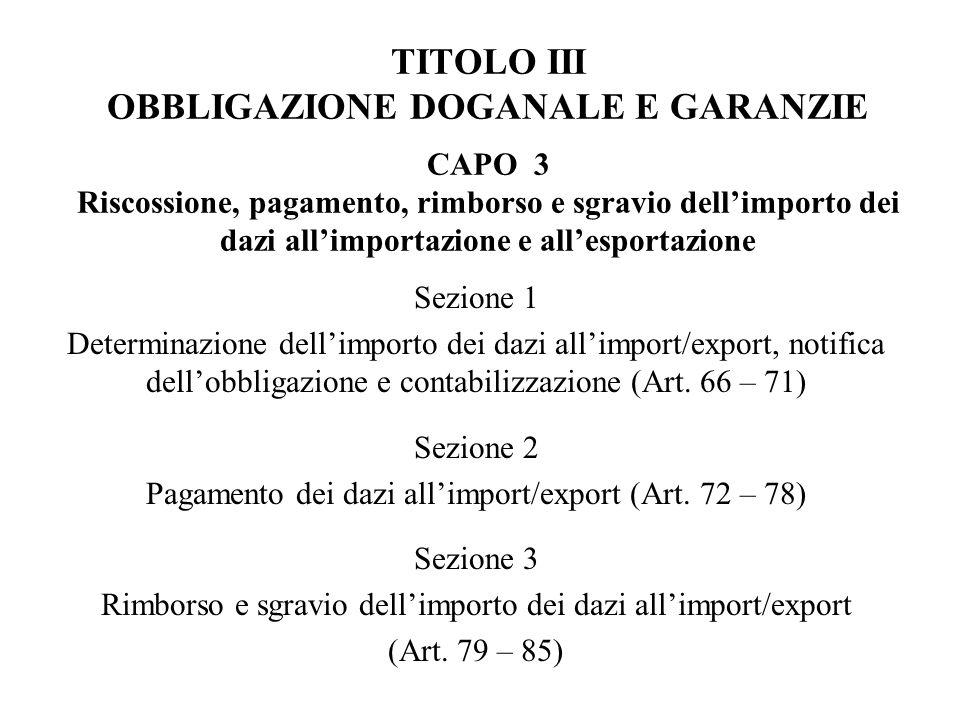 TITOLO III OBBLIGAZIONE DOGANALE E GARANZIE CAPO 3 Riscossione, pagamento, rimborso e sgravio dell'importo dei dazi all'importazione e all'esportazione