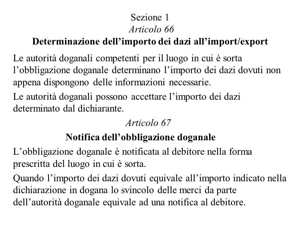 Sezione 1 Articolo 66 Determinazione dell'importo dei dazi all'import/export
