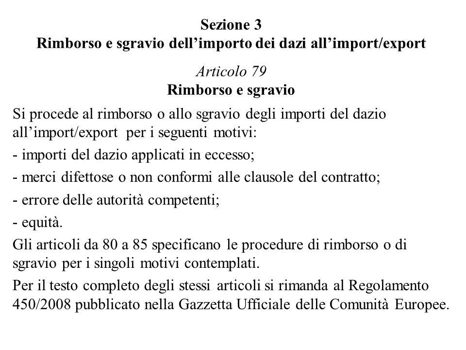 Sezione 3 Rimborso e sgravio dell'importo dei dazi all'import/export Articolo 79 Rimborso e sgravio