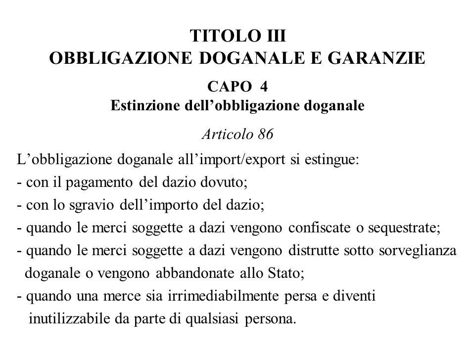 TITOLO III OBBLIGAZIONE DOGANALE E GARANZIE CAPO 4 Estinzione dell'obbligazione doganale Articolo 86