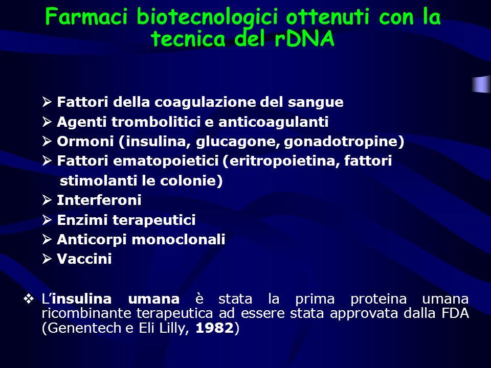 Farmaci biotecnologici ottenuti con la tecnica del rDNA