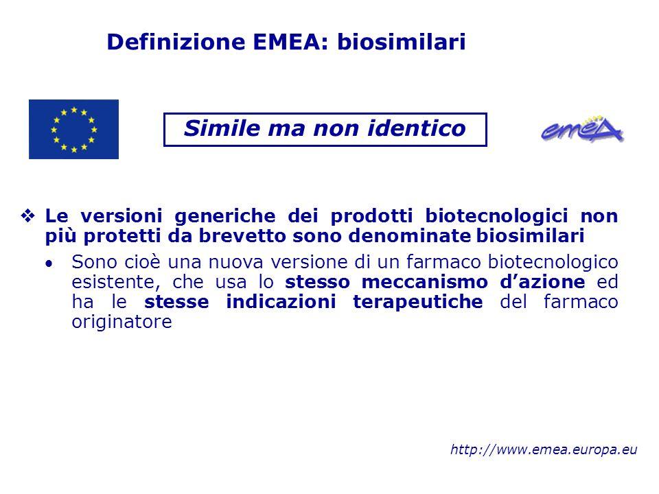 Definizione EMEA: biosimilari