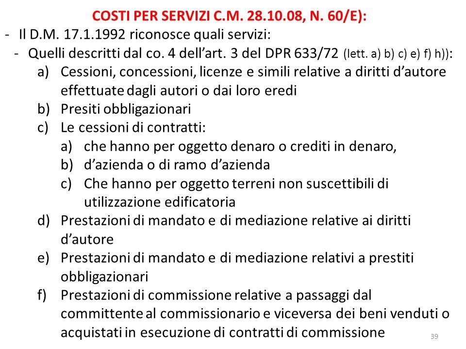 COSTI PER SERVIZI C.M. 28.10.08, N. 60/E):