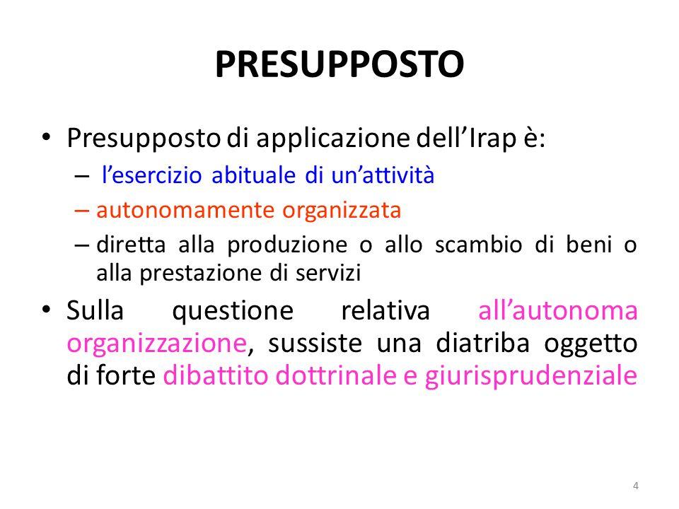PRESUPPOSTO Presupposto di applicazione dell'Irap è:
