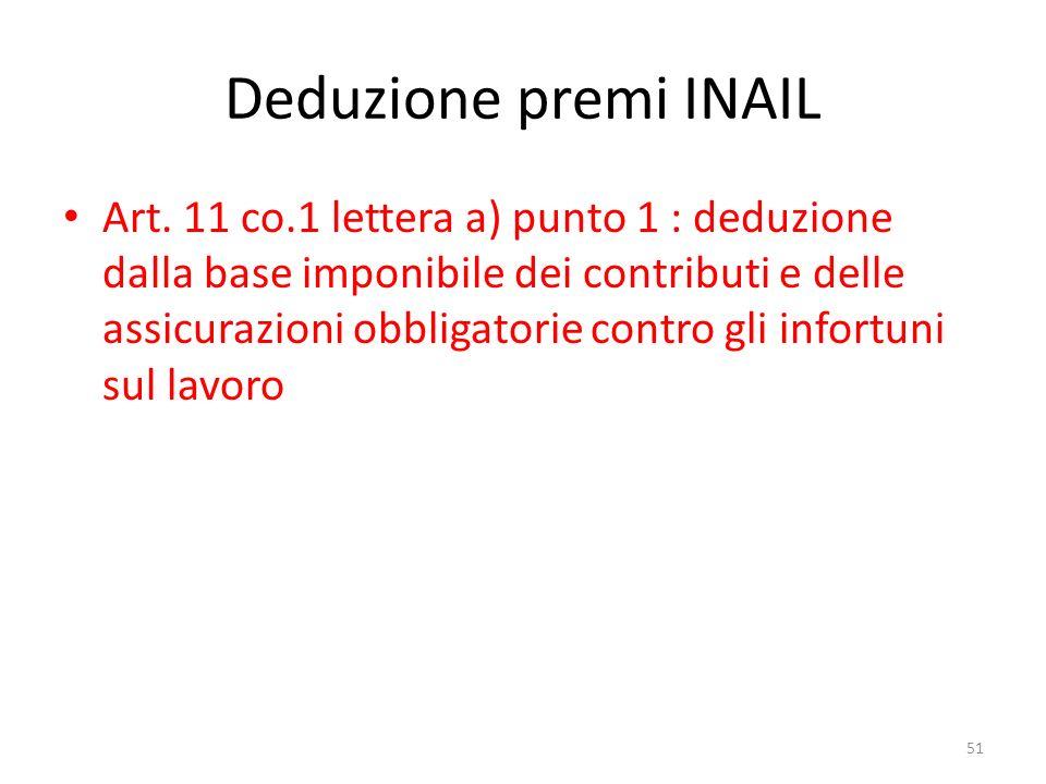 Deduzione premi INAIL