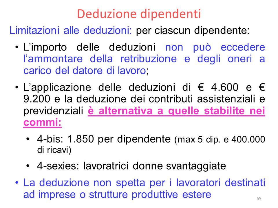 Deduzione dipendenti Limitazioni alle deduzioni: per ciascun dipendente: