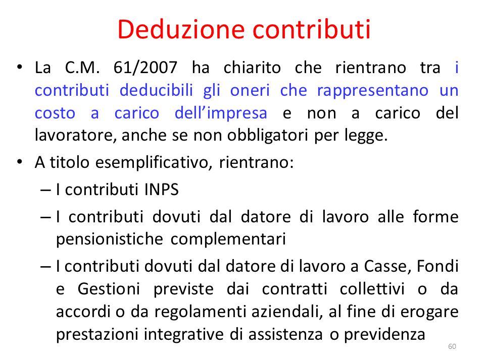 Deduzione contributi