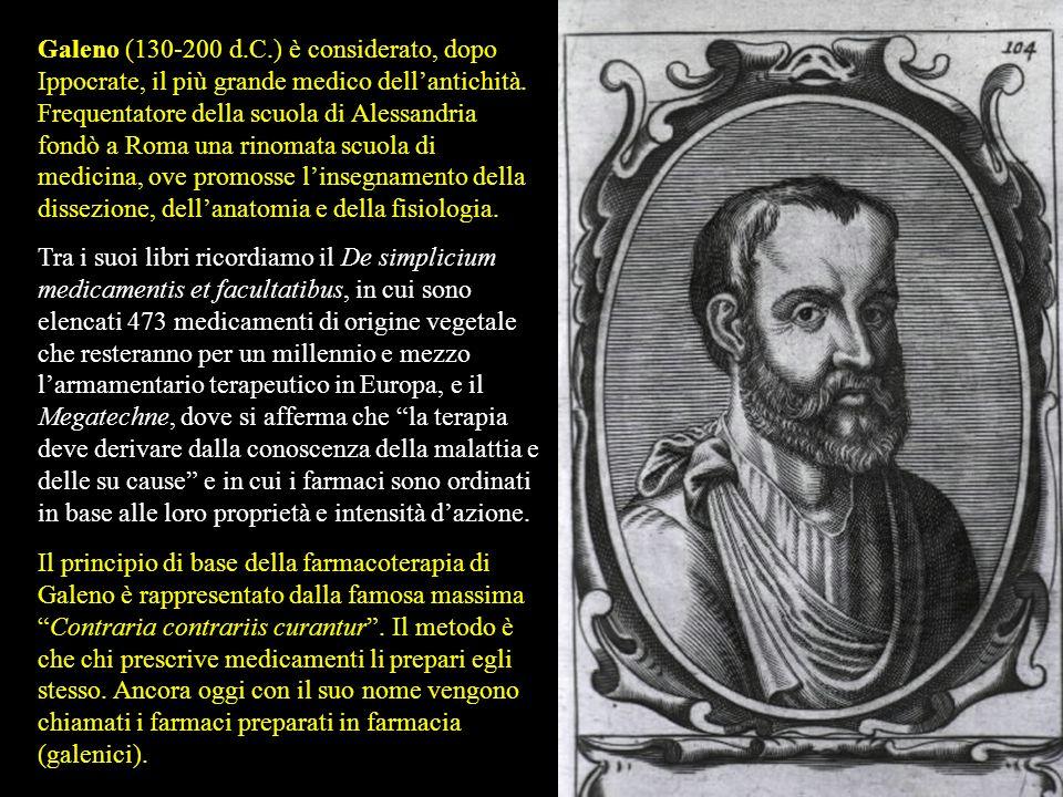 Galeno (130-200 d.C.) è considerato, dopo Ippocrate, il più grande medico dell'antichità. Frequentatore della scuola di Alessandria fondò a Roma una rinomata scuola di medicina, ove promosse l'insegnamento della dissezione, dell'anatomia e della fisiologia.