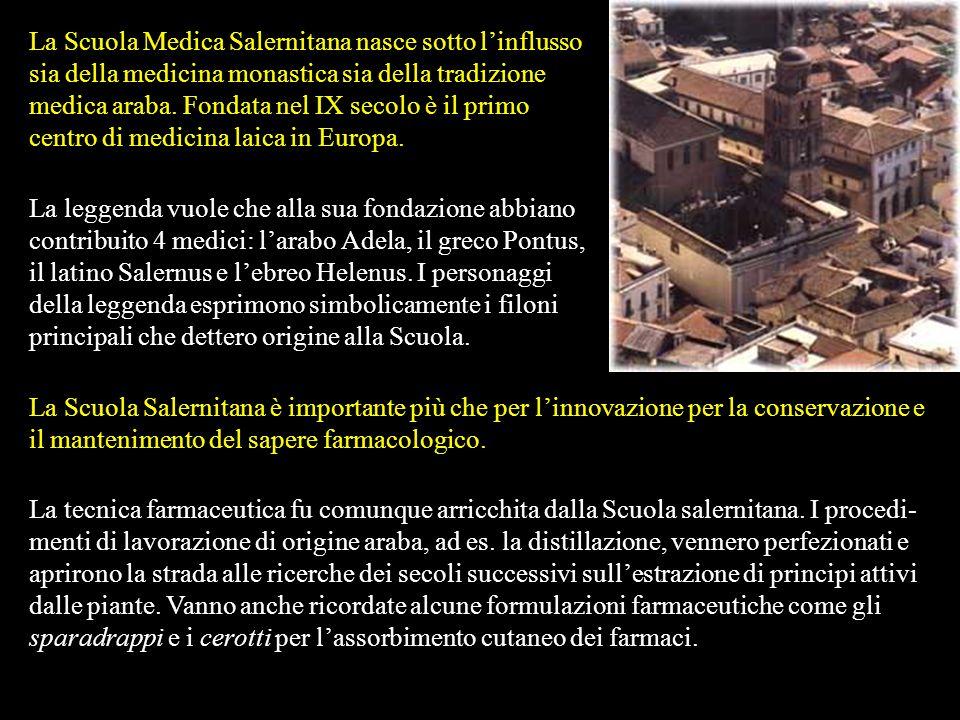 La Scuola Medica Salernitana nasce sotto l'influsso sia della medicina monastica sia della tradizione medica araba. Fondata nel IX secolo è il primo centro di medicina laica in Europa.