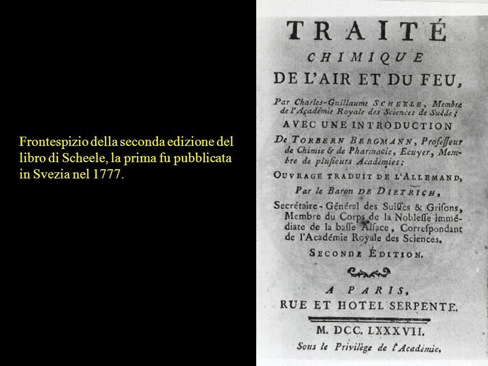 Frontespizio della seconda edizione del libro di Scheele, la prima fu pubblicata in Svezia nel 1777.