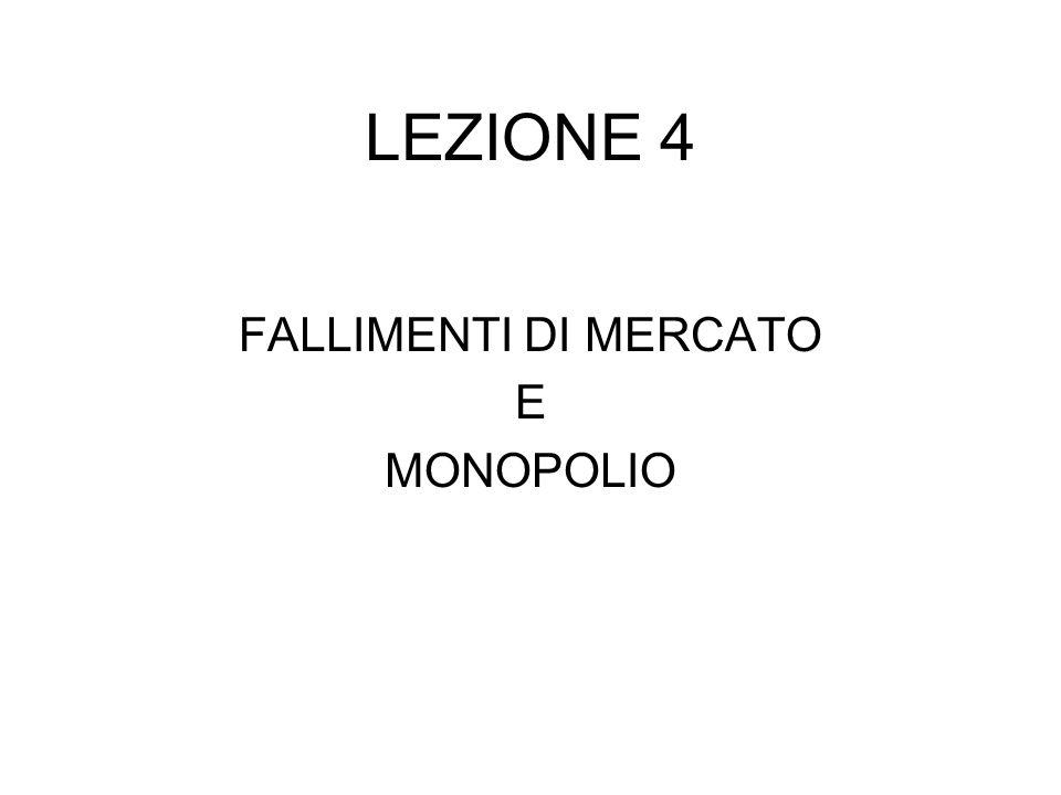 LEZIONE 4 FALLIMENTI DI MERCATO E MONOPOLIO