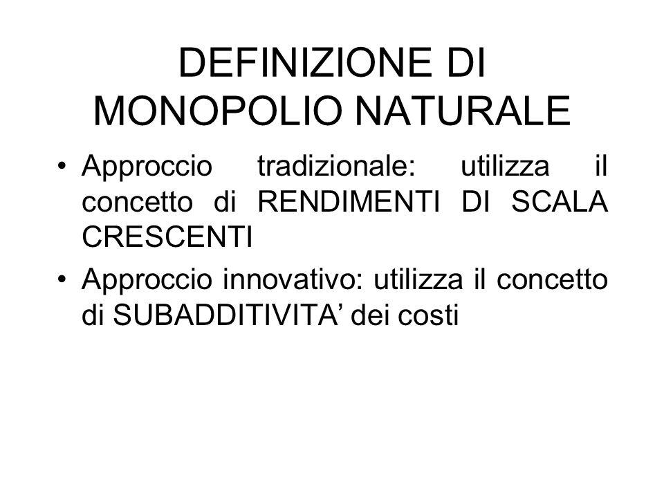 DEFINIZIONE DI MONOPOLIO NATURALE