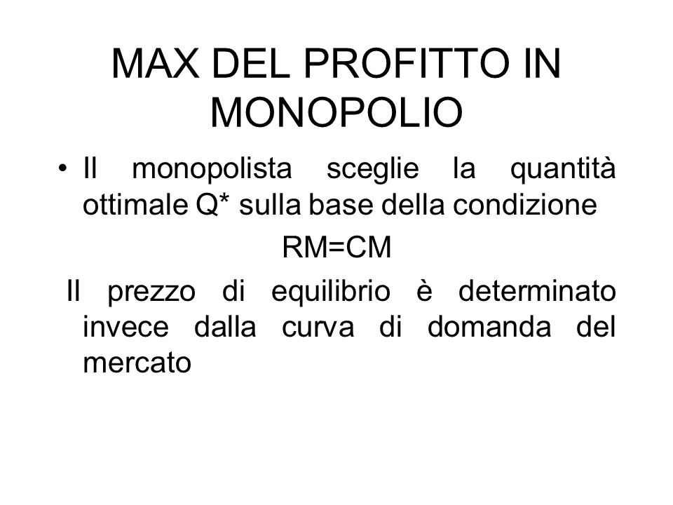 MAX DEL PROFITTO IN MONOPOLIO