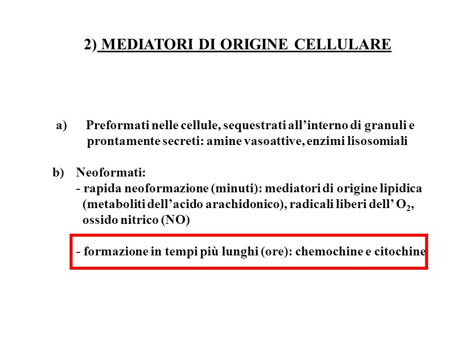 2) MEDIATORI DI ORIGINE CELLULARE