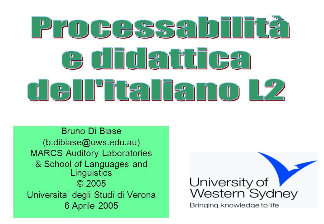 Processabilità e didattica dell italiano L2 Bruno Di Biase