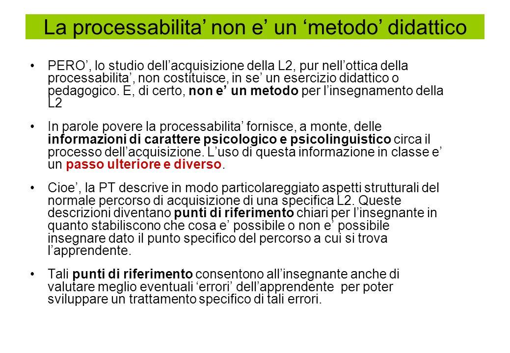 La processabilita' non e' un 'metodo' didattico