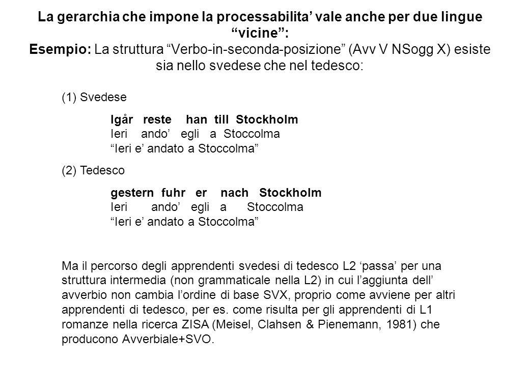 La gerarchia che impone la processabilita' vale anche per due lingue vicine : Esempio: La struttura Verbo-in-seconda-posizione (Avv V NSogg X) esiste sia nello svedese che nel tedesco: