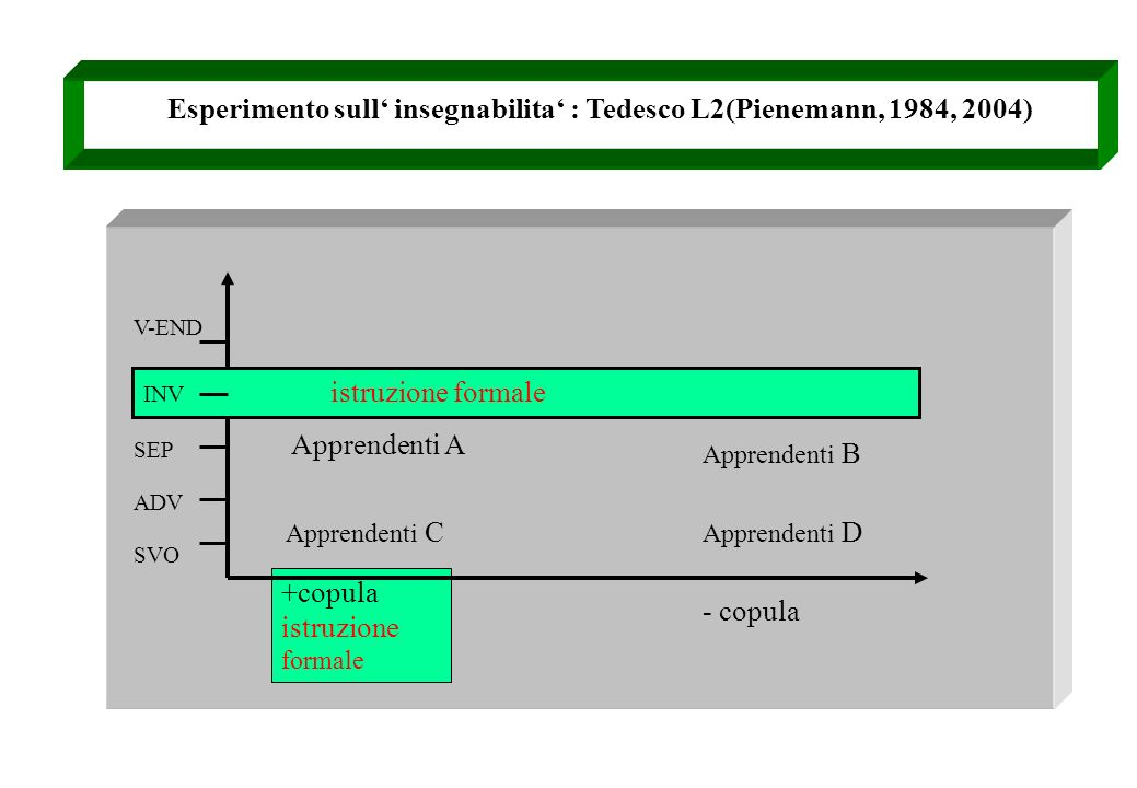 Esperimento sull' insegnabilita' : Tedesco L2(Pienemann, 1984, 2004)