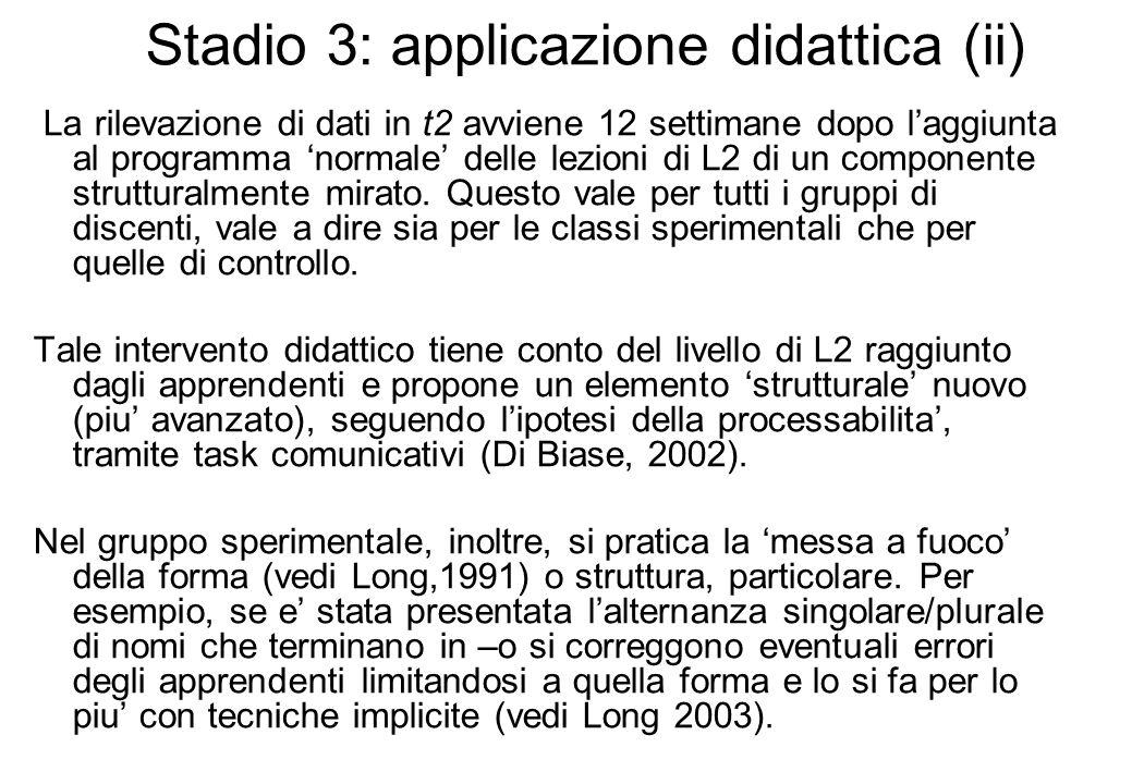 Stadio 3: applicazione didattica (ii)