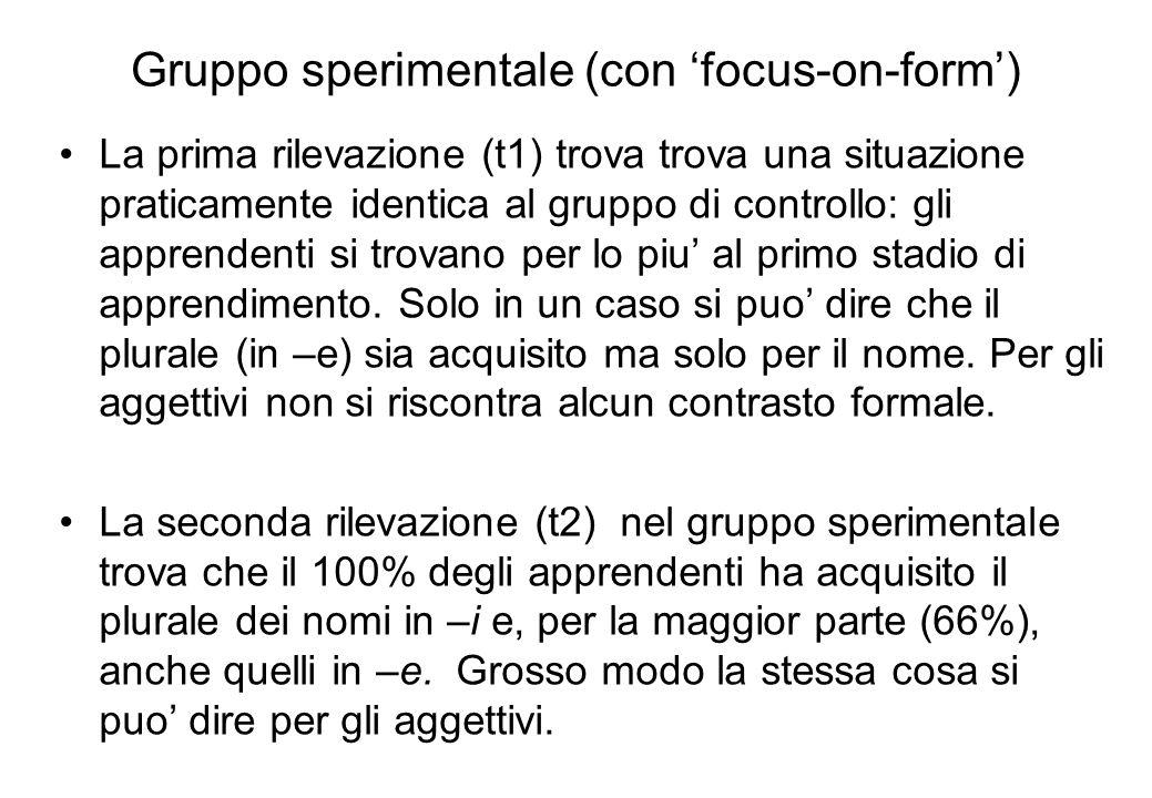 Gruppo sperimentale (con 'focus-on-form')