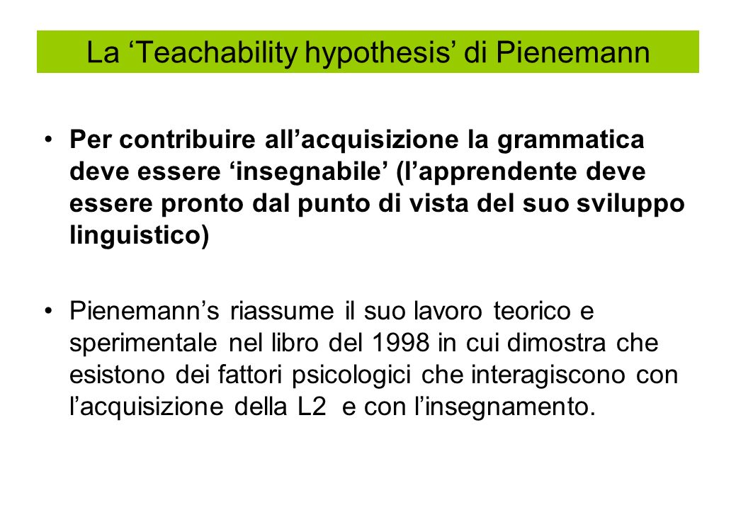 La 'Teachability hypothesis' di Pienemann