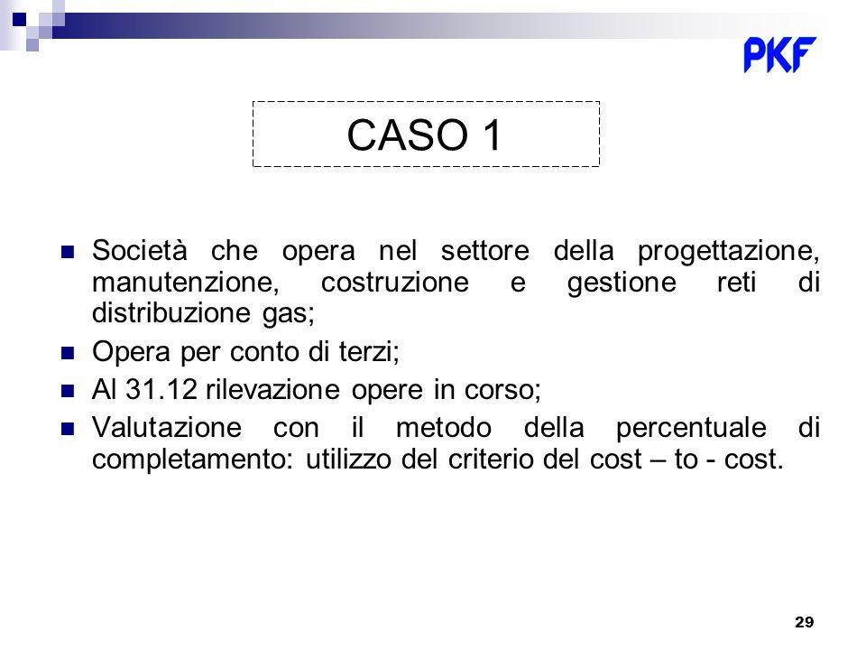 CASO 1 Società che opera nel settore della progettazione, manutenzione, costruzione e gestione reti di distribuzione gas;