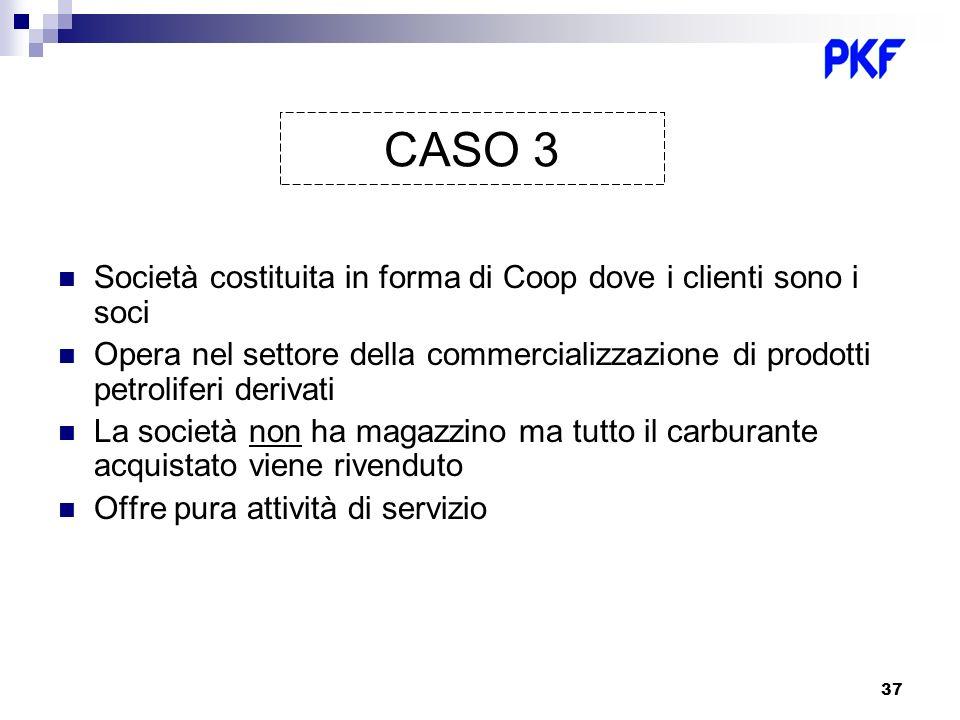 CASO 3 Società costituita in forma di Coop dove i clienti sono i soci