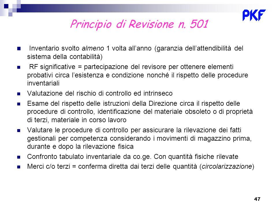 Principio di Revisione n. 501