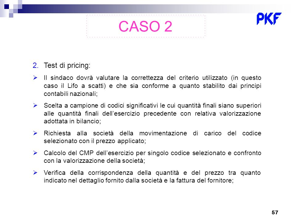 CASO 2 Test di pricing: