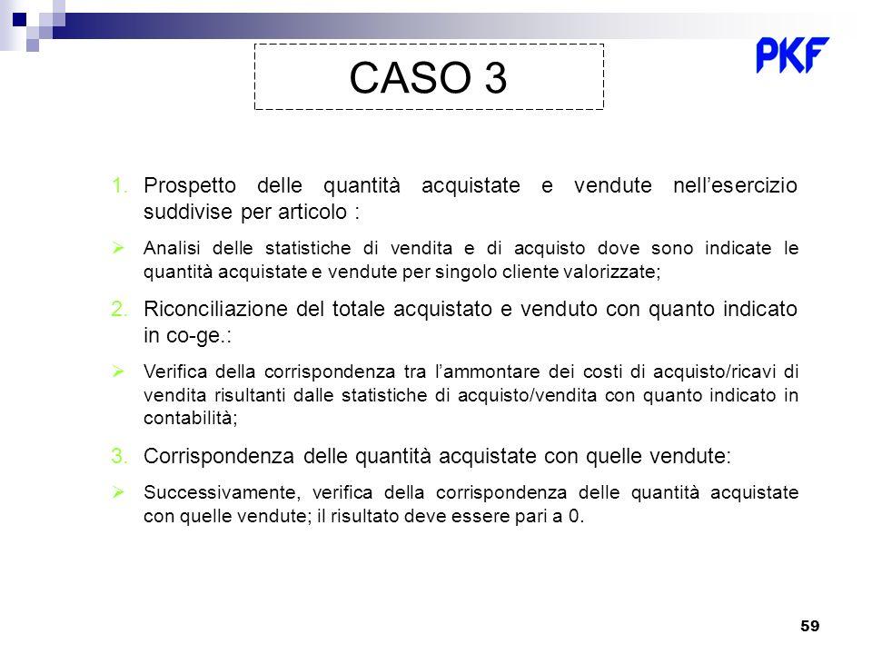CASO 3 Prospetto delle quantità acquistate e vendute nell'esercizio suddivise per articolo :