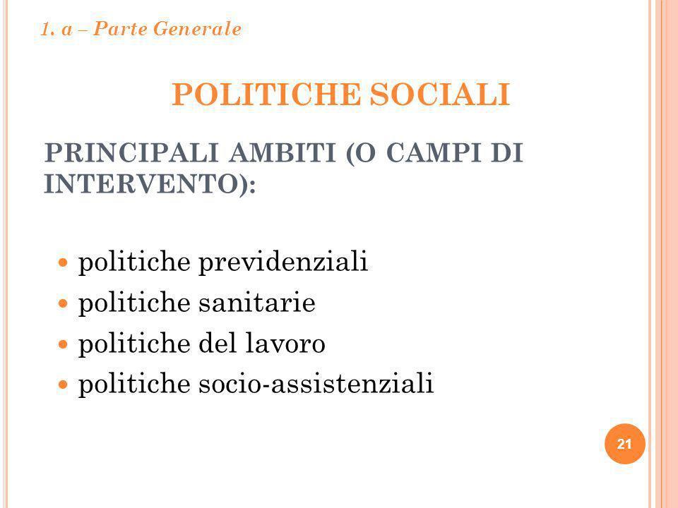 POLITICHE SOCIALI politiche previdenziali politiche sanitarie