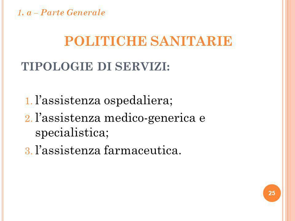POLITICHE SANITARIE l'assistenza ospedaliera;