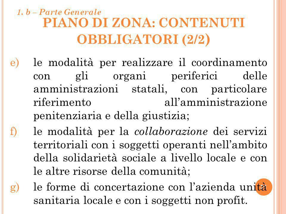 PIANO DI ZONA: contenuti obbligatori (2/2)