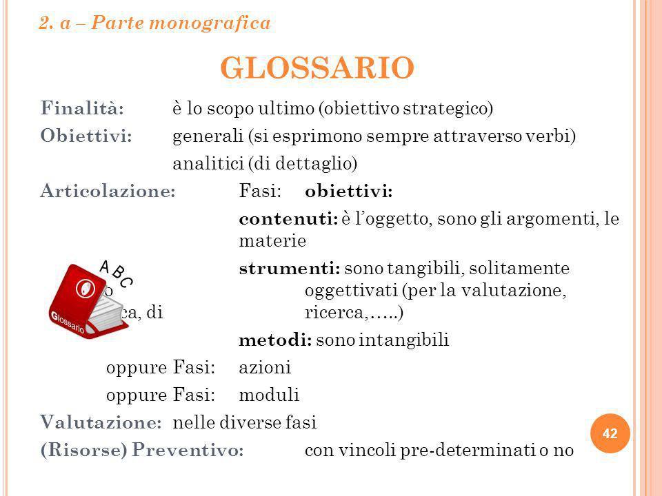GLOSSARIO 2. a – Parte monografica