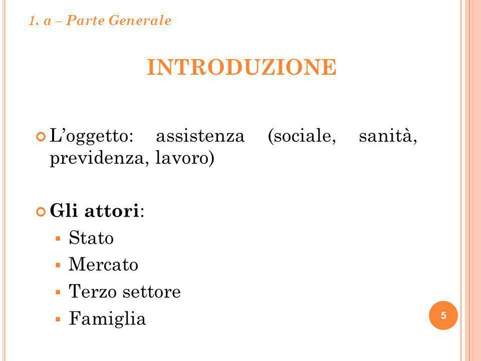 1. a – Parte Generale Introduzione. L'oggetto: assistenza (sociale, sanità, previdenza, lavoro) Gli attori: