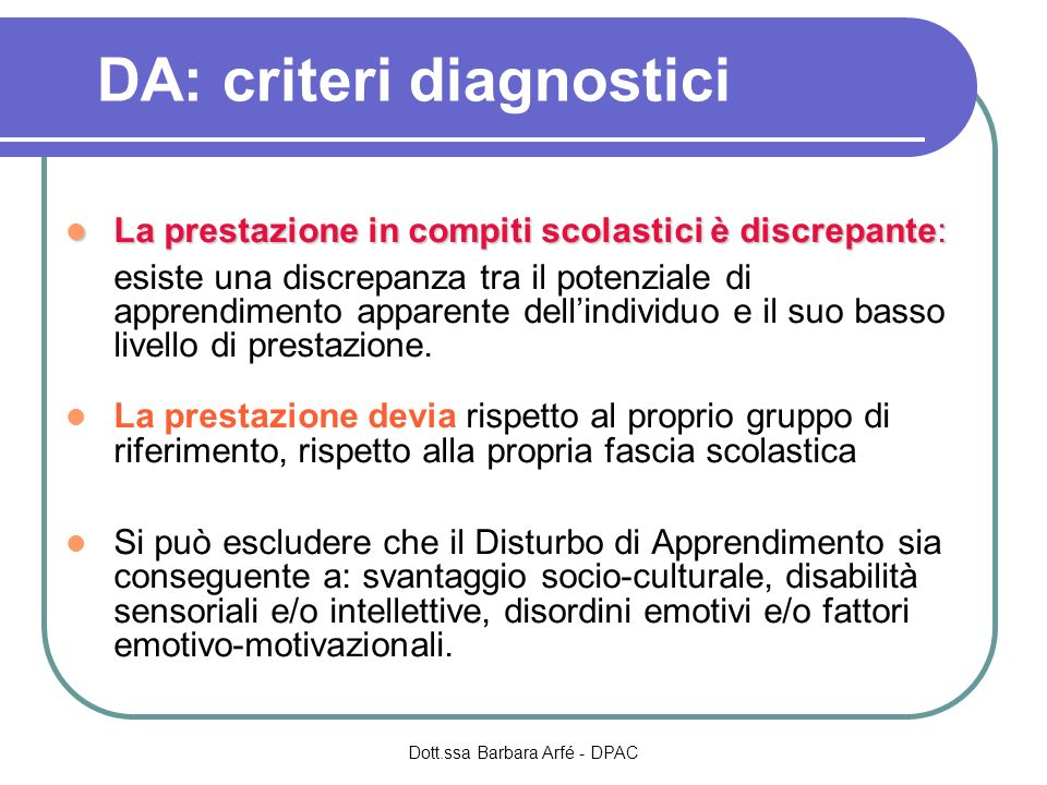 DA: criteri diagnostici