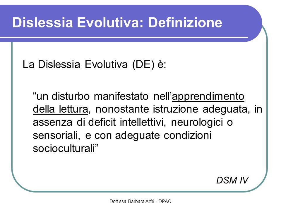 Dislessia Evolutiva: Definizione