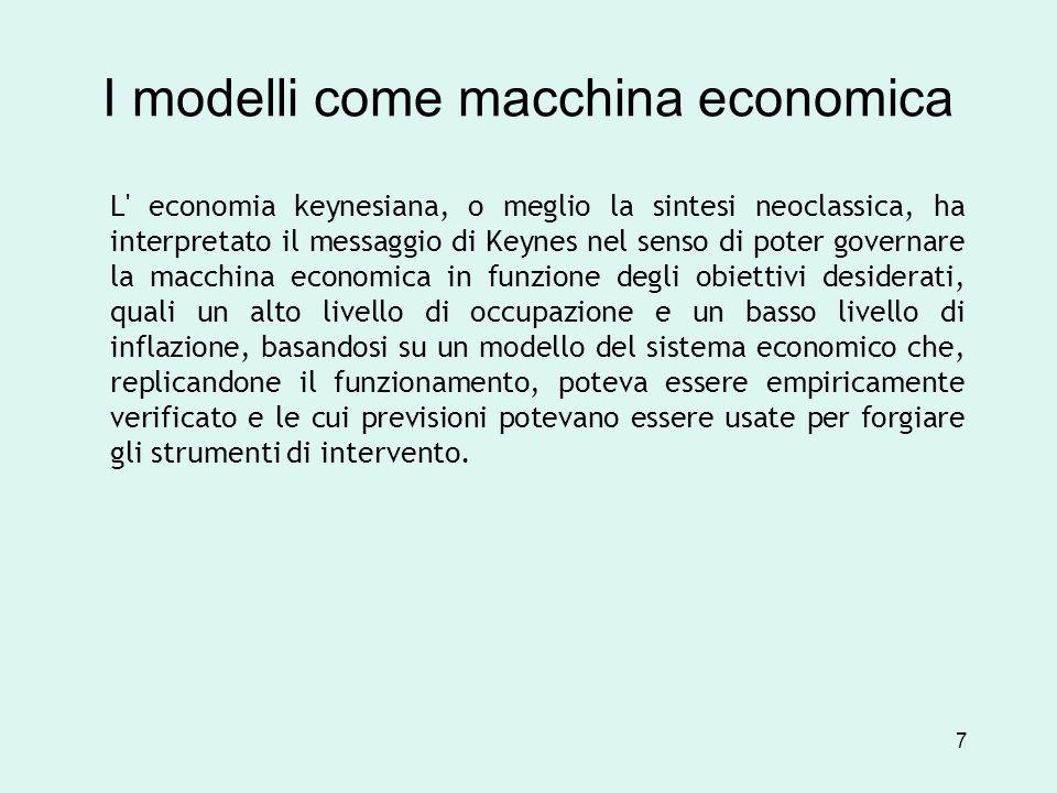 I modelli come macchina economica