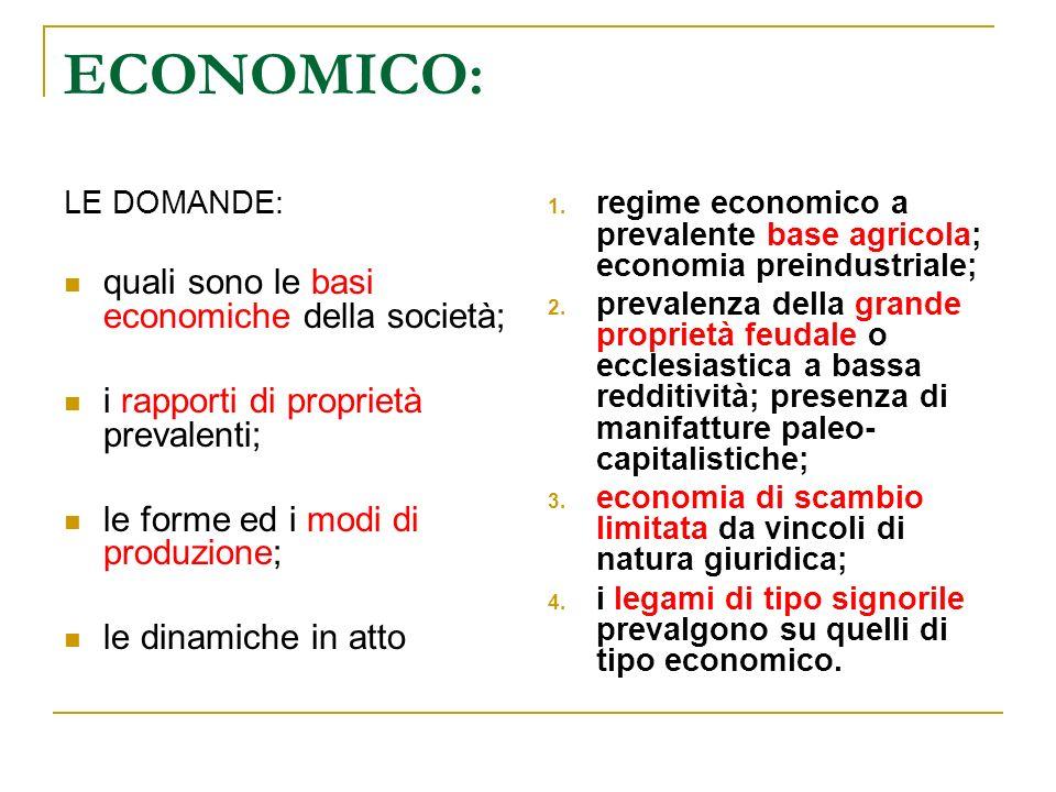 ECONOMICO: quali sono le basi economiche della società;