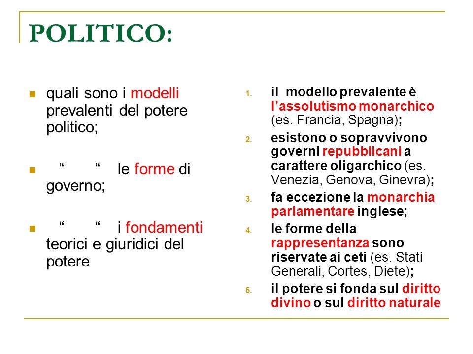 POLITICO: quali sono i modelli prevalenti del potere politico;
