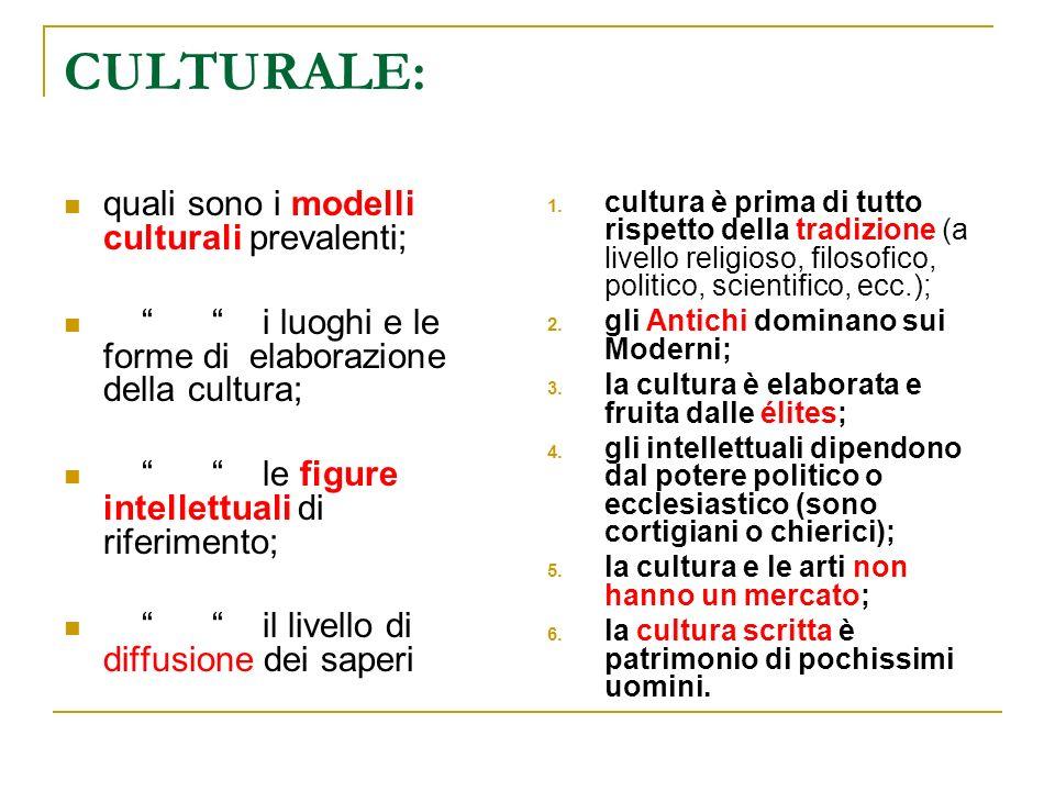 CULTURALE: quali sono i modelli culturali prevalenti;