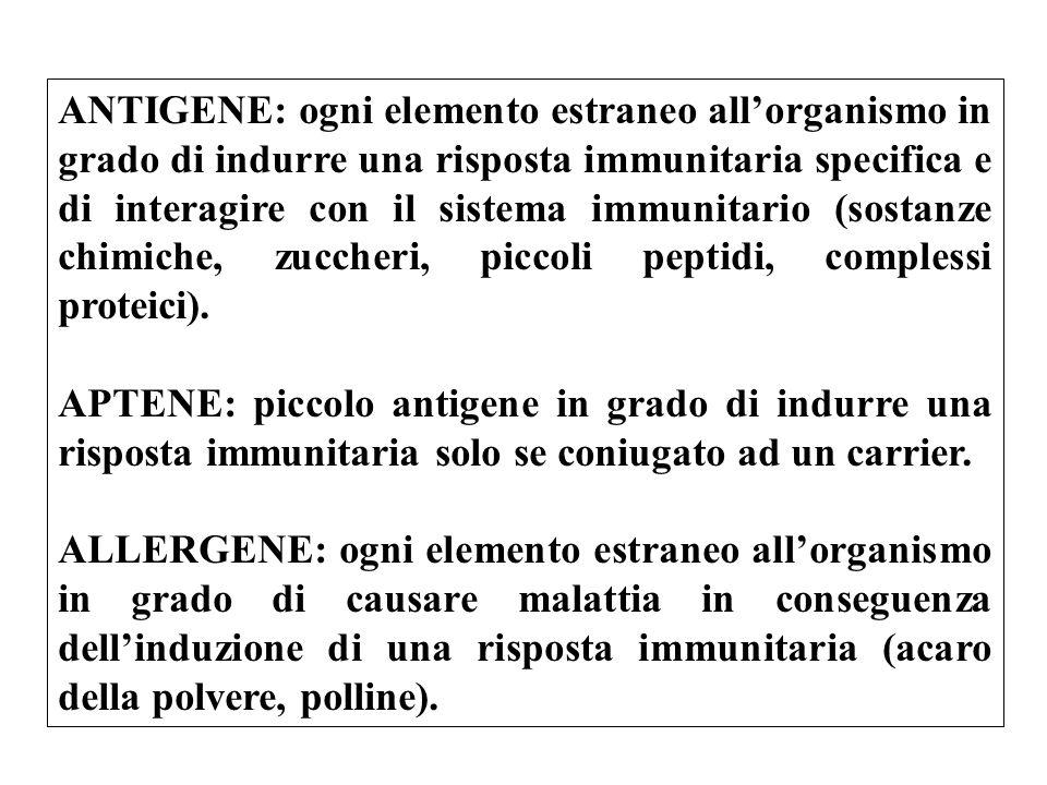 ANTIGENE: ogni elemento estraneo all'organismo in grado di indurre una risposta immunitaria specifica e di interagire con il sistema immunitario (sostanze chimiche, zuccheri, piccoli peptidi, complessi proteici).