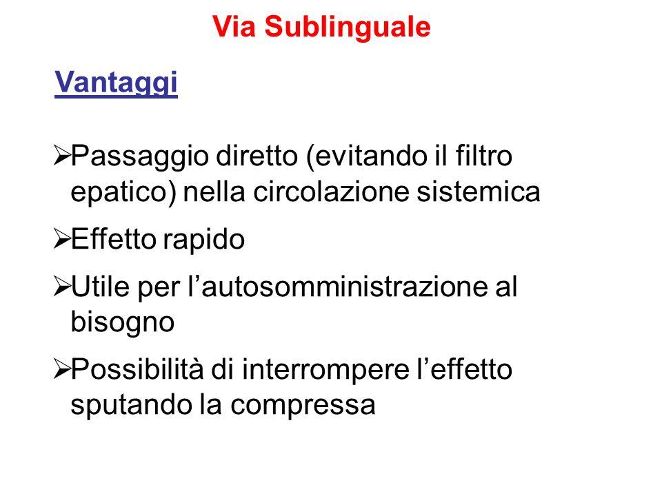 Via Sublinguale Vantaggi. Passaggio diretto (evitando il filtro epatico) nella circolazione sistemica.