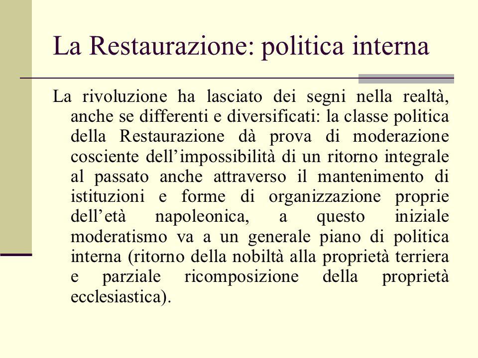 La Restaurazione: politica interna