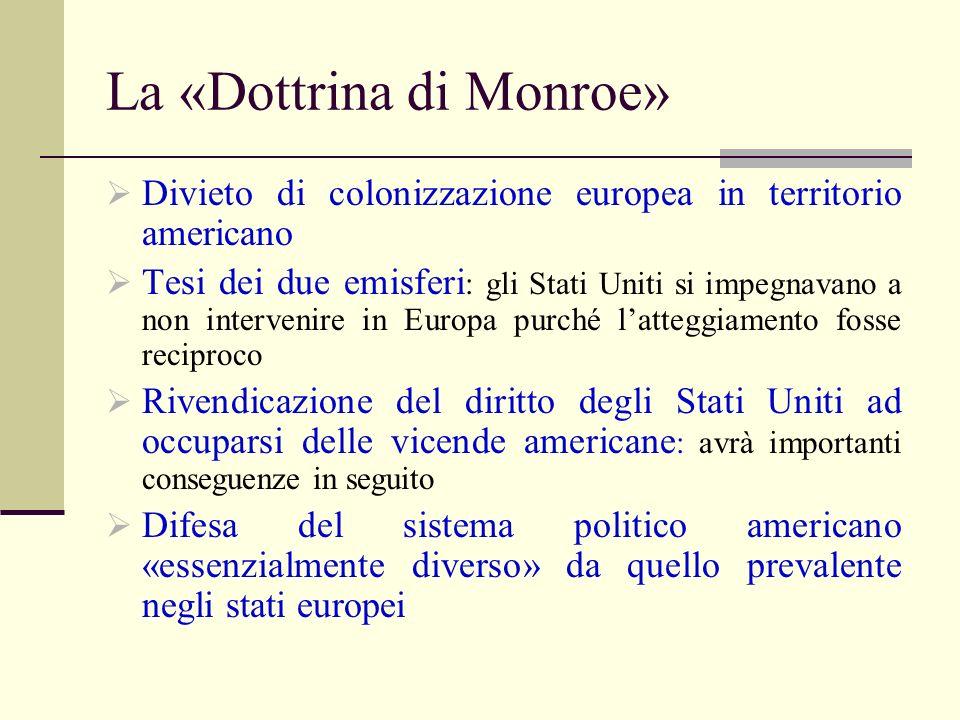 La «Dottrina di Monroe»