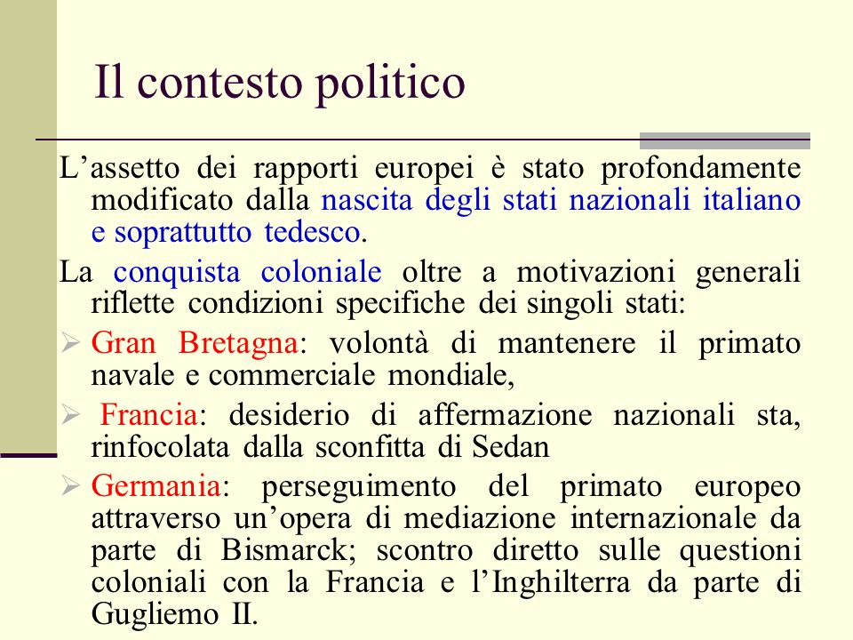 Il contesto politico